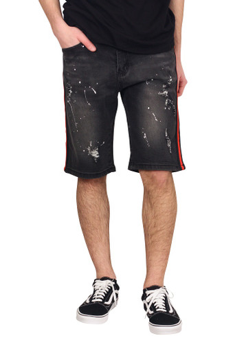 M. SOCIETY  Rip and Tear Denim Shorts with Side Stripes