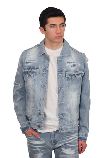 BLEECKER AND MERCER Rip and Tear Denim Jacket