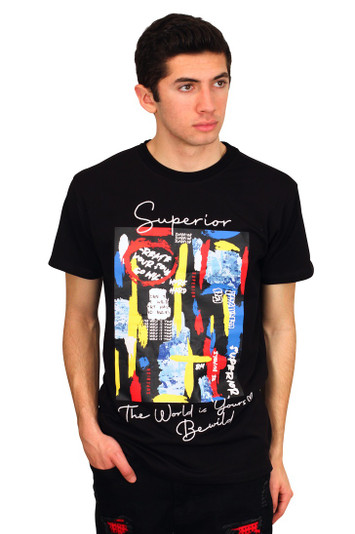 BLEECKER AND MERCER Technique Graffiti Art Tee with Embroidered Detail