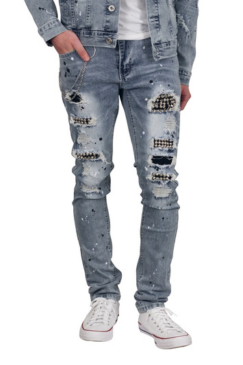 M. SOCIETY Skinny Fit Rip and Tear Studded Jeans