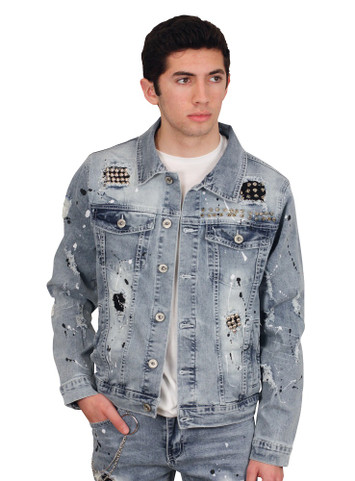 M. SOCIETY Rip and Tear Studded Denim Jacket