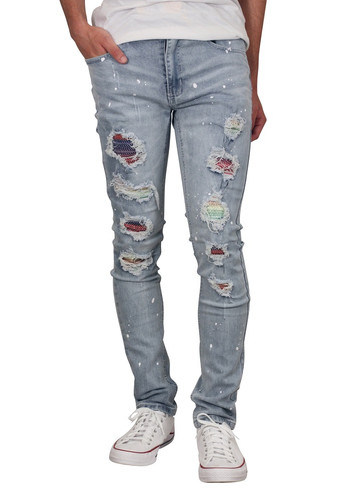 M. SOCIETY Skinny Fit Rip and Tear Jeans with Contrast Rhinestone Backing