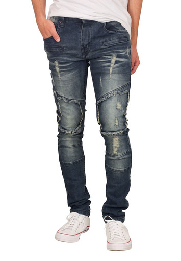 M. SOCIETY Skinny Fit Cut and Sew Jeans with Articulated Knees