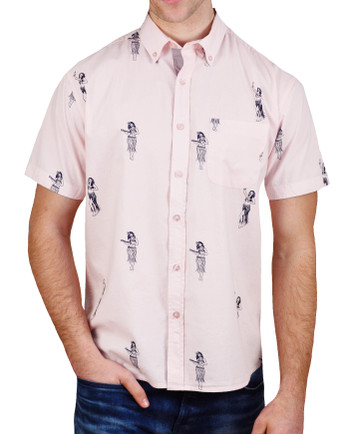 Alpha Beta Hula Dancer Button-Down Hawaiian Pink