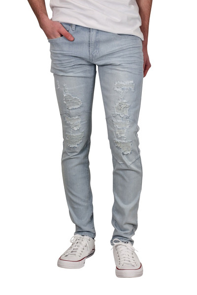 BLEECKER & MERCER Skinny Fit Rip and Tear Jeans with Articulated Knees