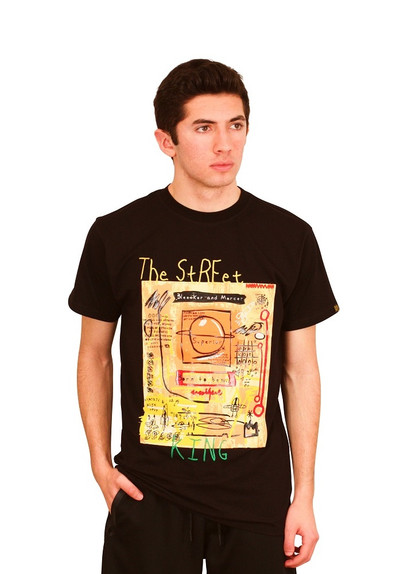 BLEECKER AND MERCER Technique Graffiti Art STREET KING Tee with Embroidered Accent