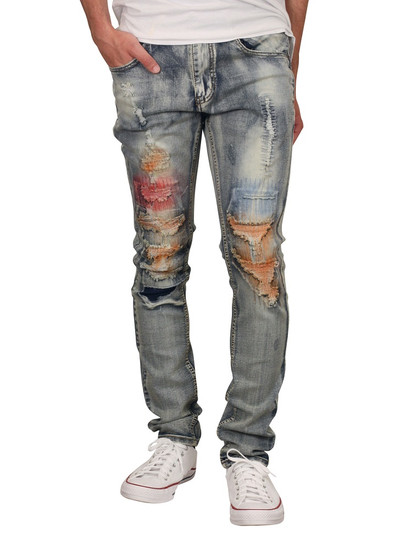 M. SOCIETY Skinny Fit Rip and Tear Jeans with Contrast Stitching