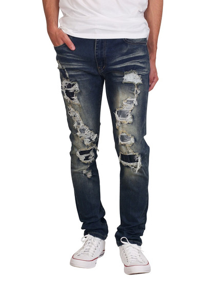 M. SOCIETY Skinny Fit Rip and Repair Jeans with Backing