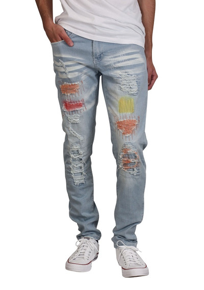 BLEECKER AND MERCER Slim Skinny Painted Jeans with Contrast Stitching