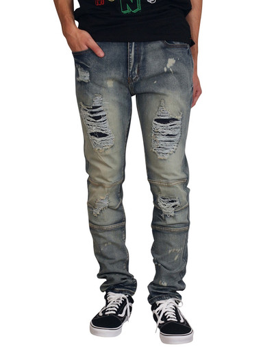 M. SOCIETY Skinny Fit Rip and Tear Jeans with Articulated Knees