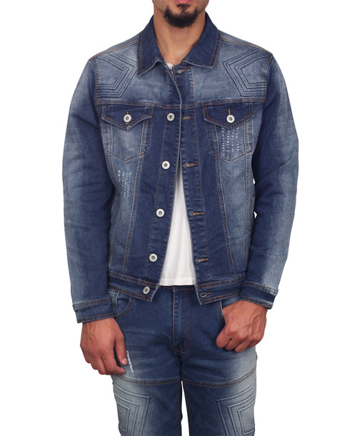 M. SOCIETY  Rip and Tear Denim Jacket with Embossed Design