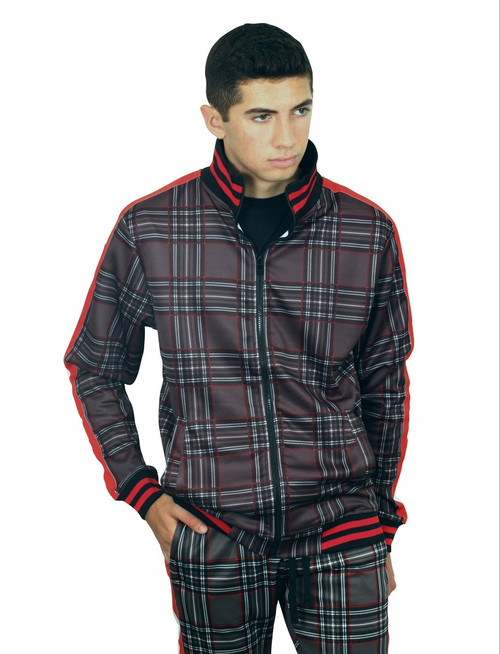 REBEL MINDS Classic Plaid Track Jacket
