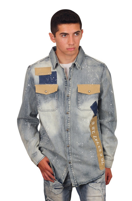 SMOKE RISE Utility Denim Shirt Cascade Blue