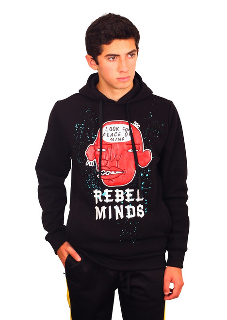 REBEL MINDS Graphic Fleece Hoodie with PU Patch