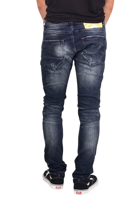 ROYAL SEVEN Skinny Fit Jeans with Reflective Taping Blue