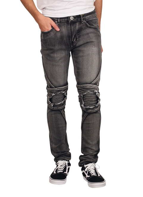 M. SOCIETY Skinny Fit Jeans with Rip and Tear