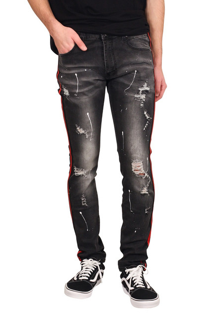 M. SOCIETY Skinny Fit Splatter Jeans with Side Taping