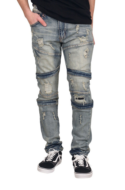 M. SOCIETY Skinny Fit Stretch Rip and Tear Jeans
