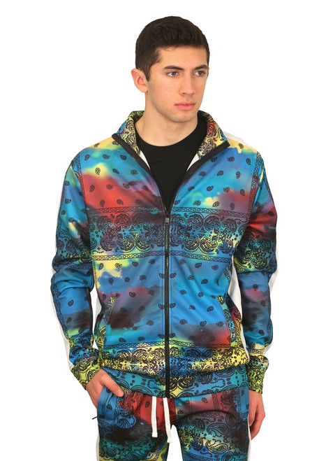 REBEL MINDS Tie Dye Paisley Track Jacket