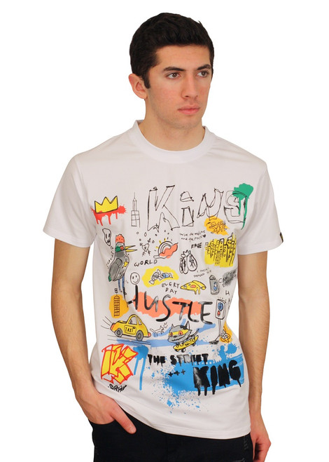 BLEECKER AND MERCER Technique Graffiti Art Tee with Embroidered Accent