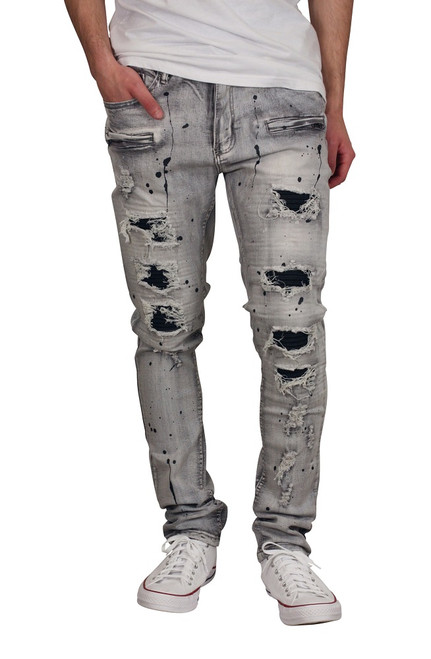 M. SOCIETY Rip and Tear Moto Jeans with Splatter Design