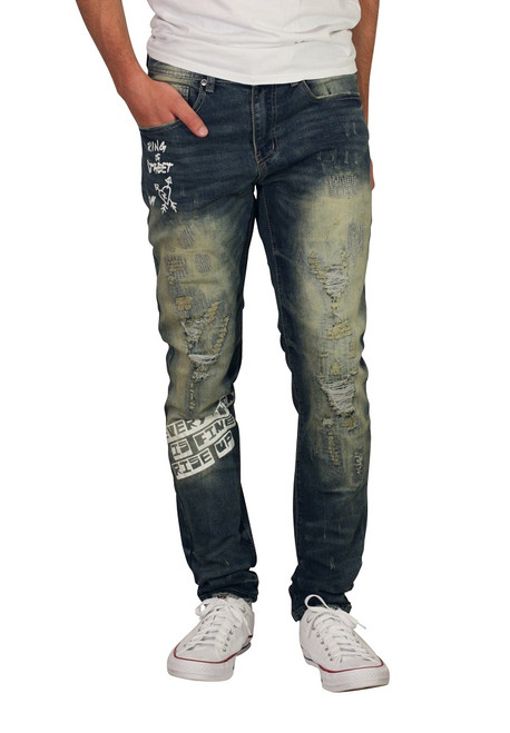 BLEECKER AND MERCER Slim Fit Printed Rip and Tear Jeans