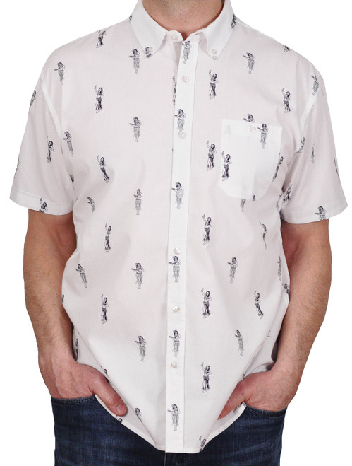 Massive Apparel Hula Dancer Button-Down Shirt White