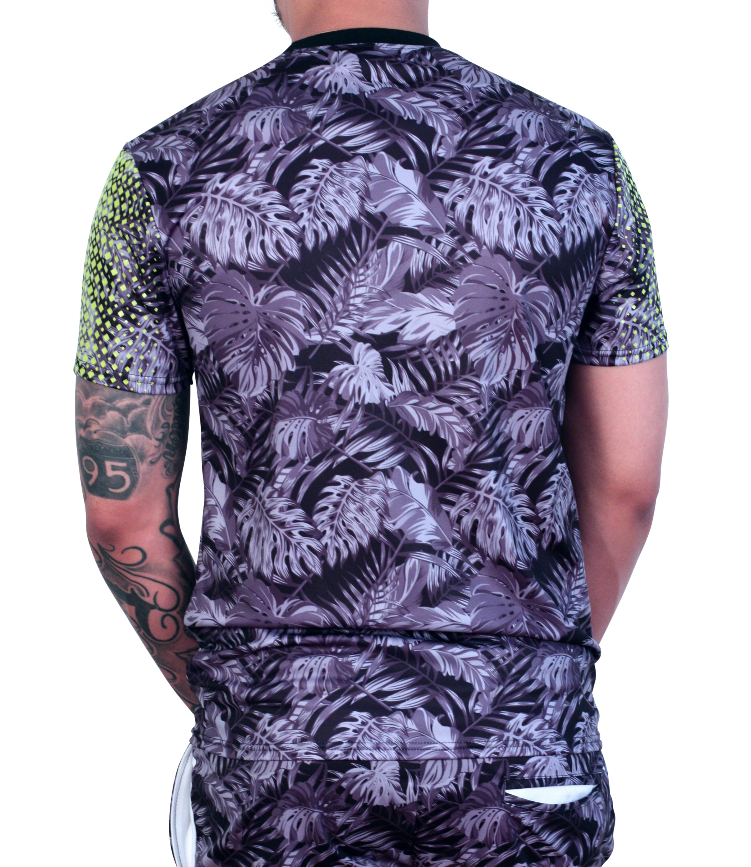 M. SOCIETY Hawaiian Printed Poly Tee Black