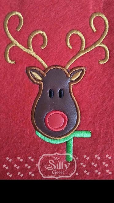 Both 4x4 & 5x7 Reindeer  Applique