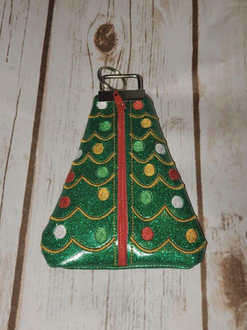 5x7 Triangle Zip Pouch Medium Christmas Tree