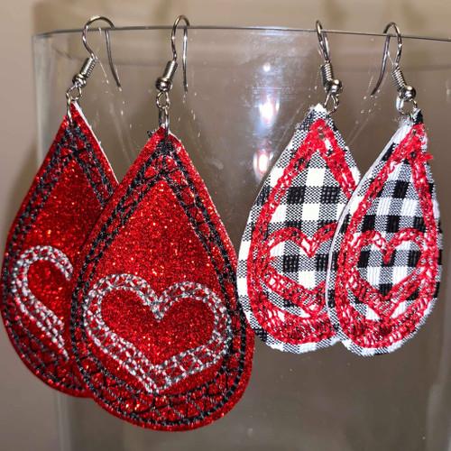 4x4 Drop Heart Earrings