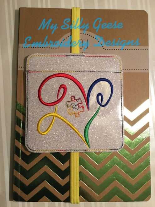 4x4 Autism Love Book Band with Pocket