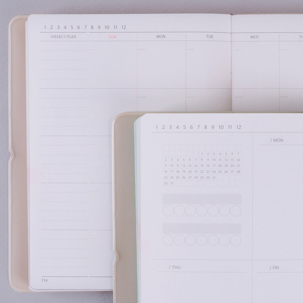 Inner pages - Rihoon Essay small weekly dateless diary planner