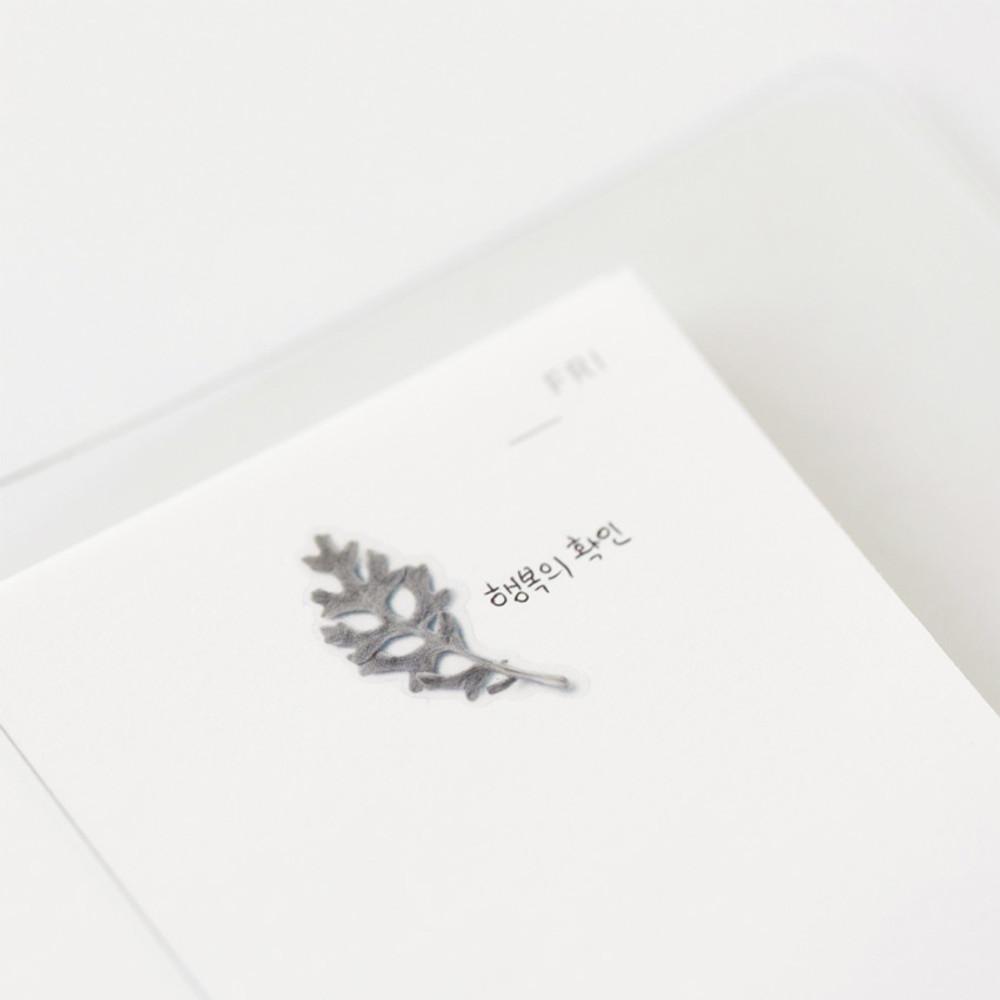 Detail of Dusty miller press flower deco sticker