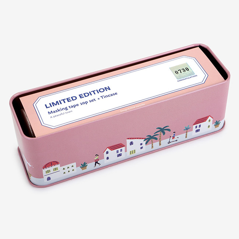 Comes with a tin case - Dailylike A peaceful town 10 masking tapes set with tin case