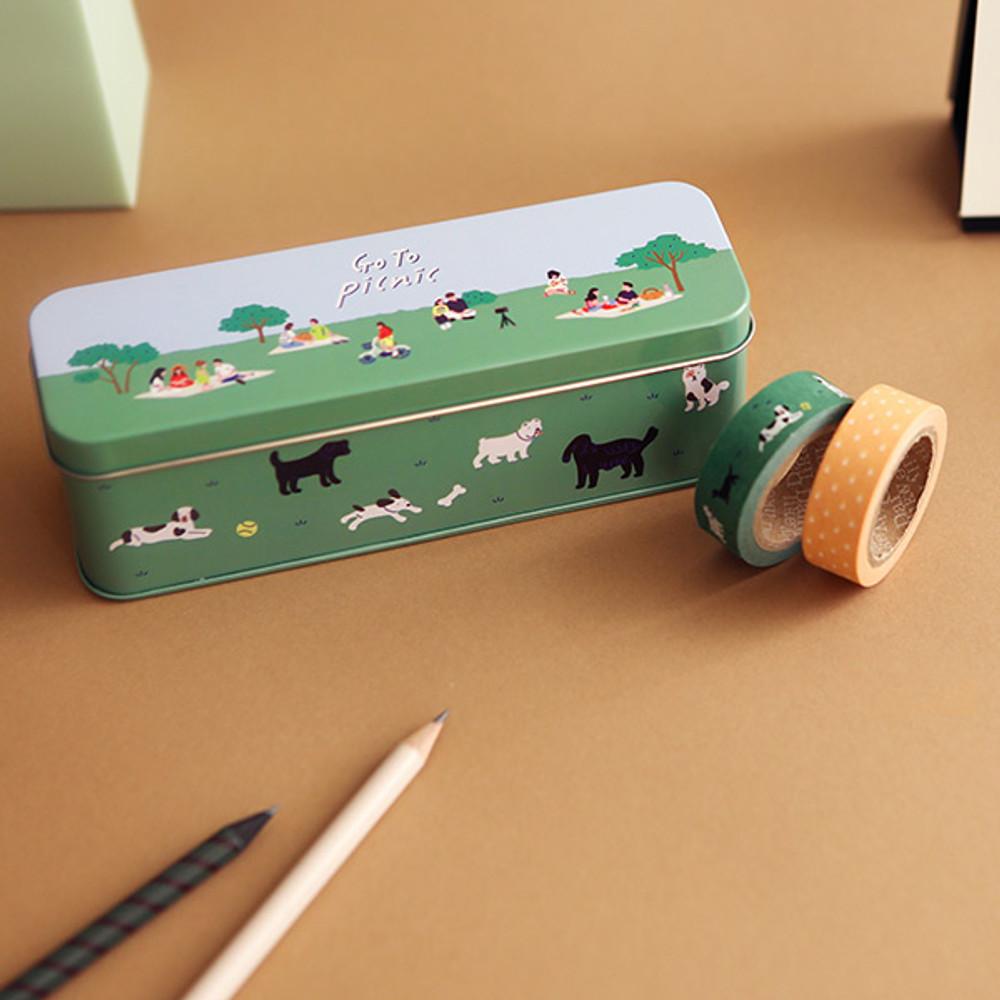 Dailylike Go to picnic 10 masking tapes set with tin case