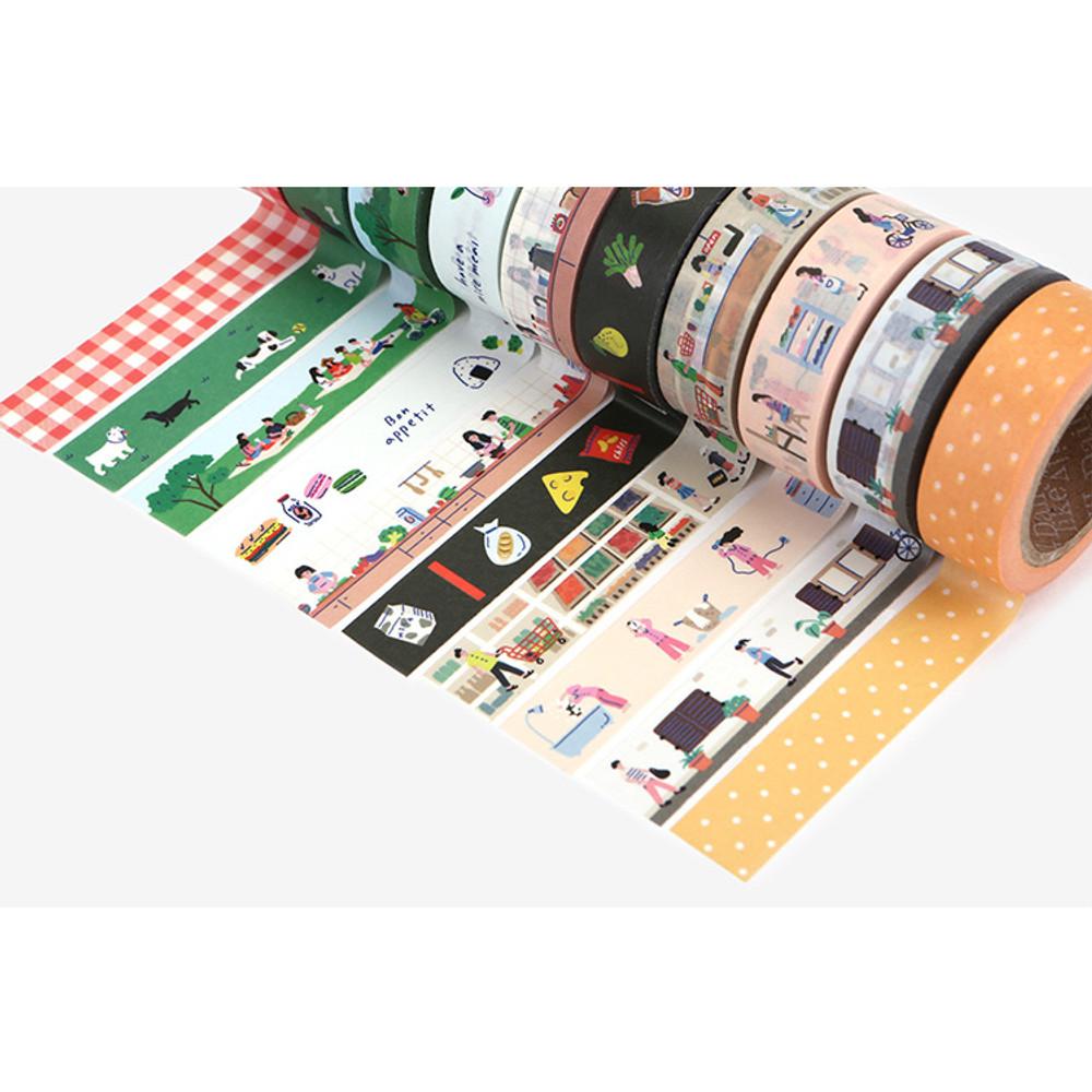 set of 10 tapes - Dailylike Go to picnic 10 masking tapes set with tin case