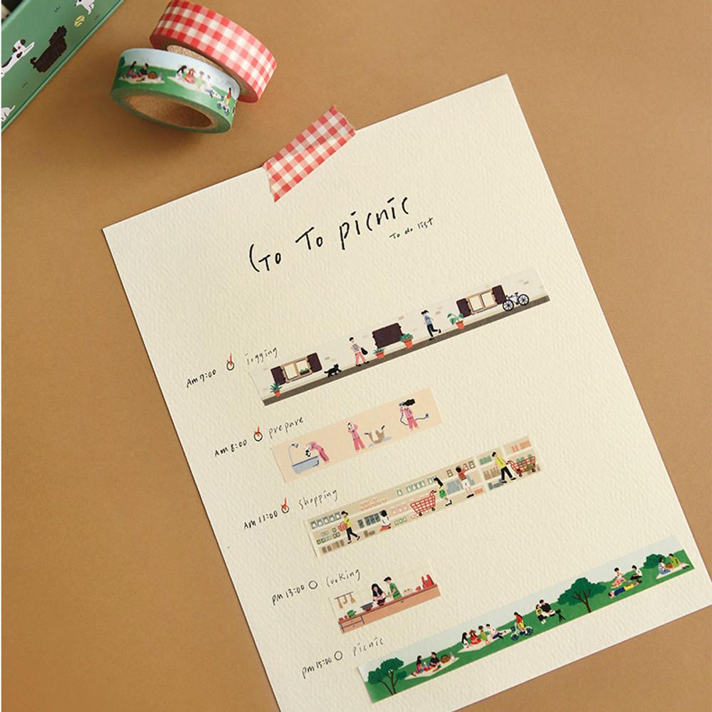 Usage example - Dailylike Go to picnic 10 masking tapes set with tin case