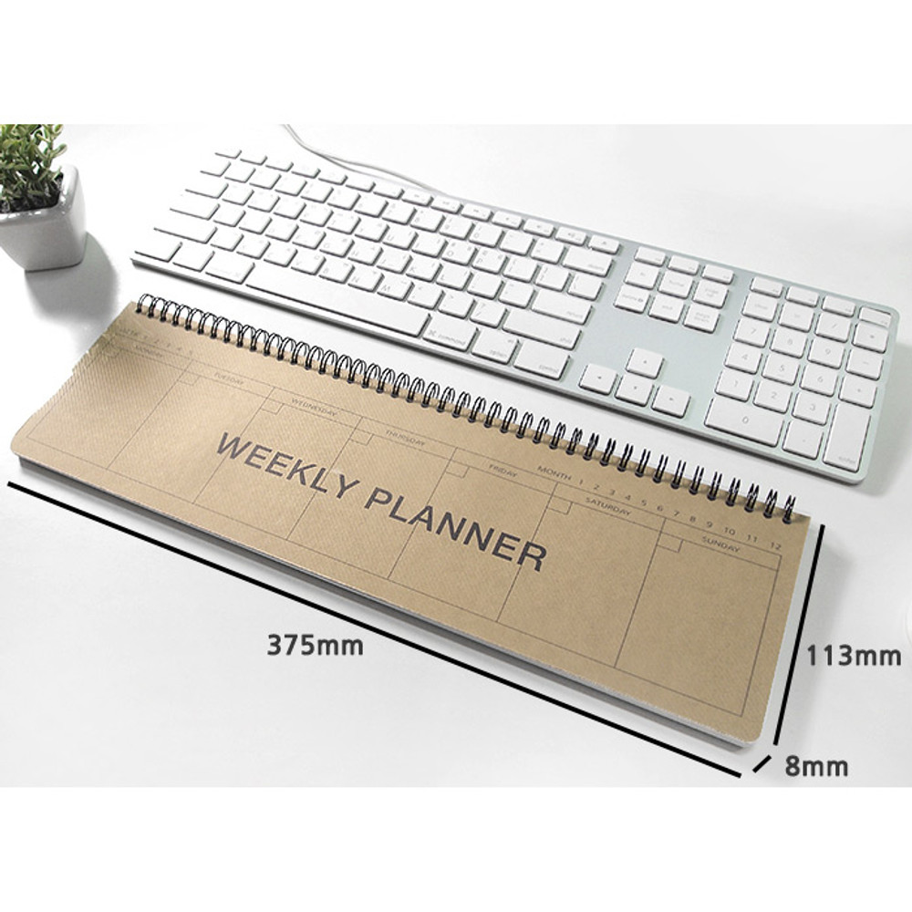 Size - 2young Wirebound kraft long dateless weekly desk planner