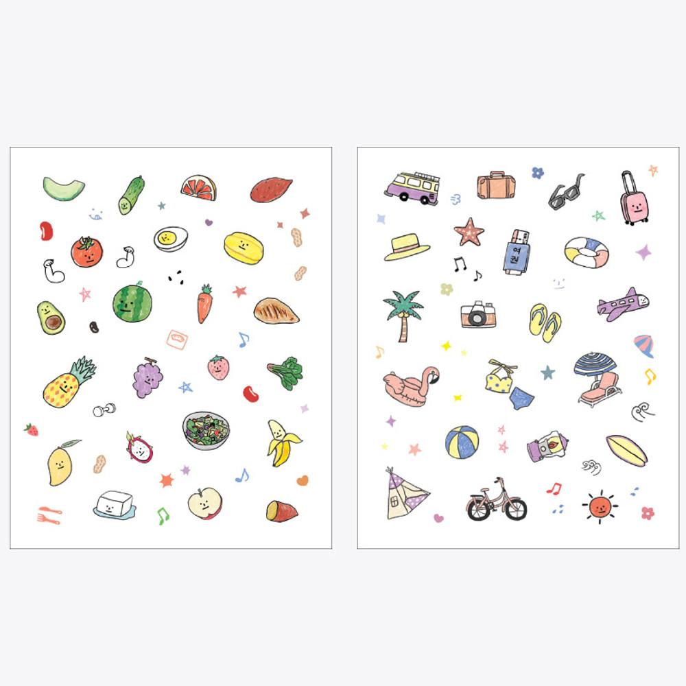 Sticker sheets - Rihoon Lovely illustration 20 sheets sticker set