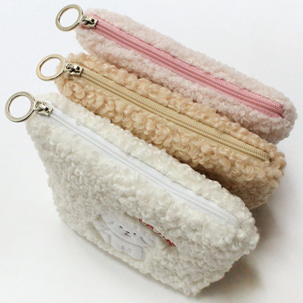 With Alice Bichon Frise mini triangle zip pouch