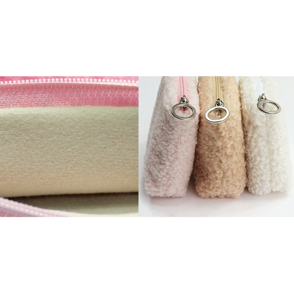 Detail of With Alice Bichon Frise mini triangle zip pouch