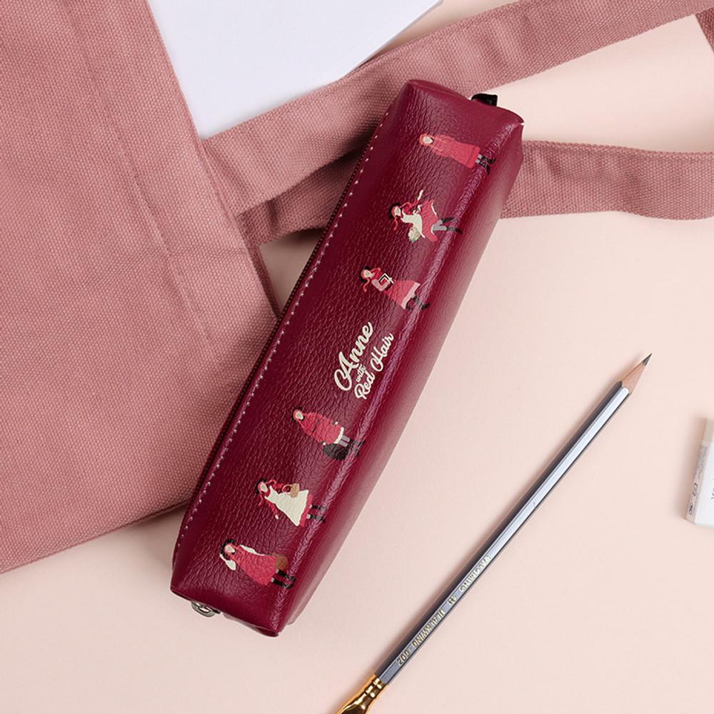 Burgundy - Bookfriends Anne of green gables zipper pencil case pouch