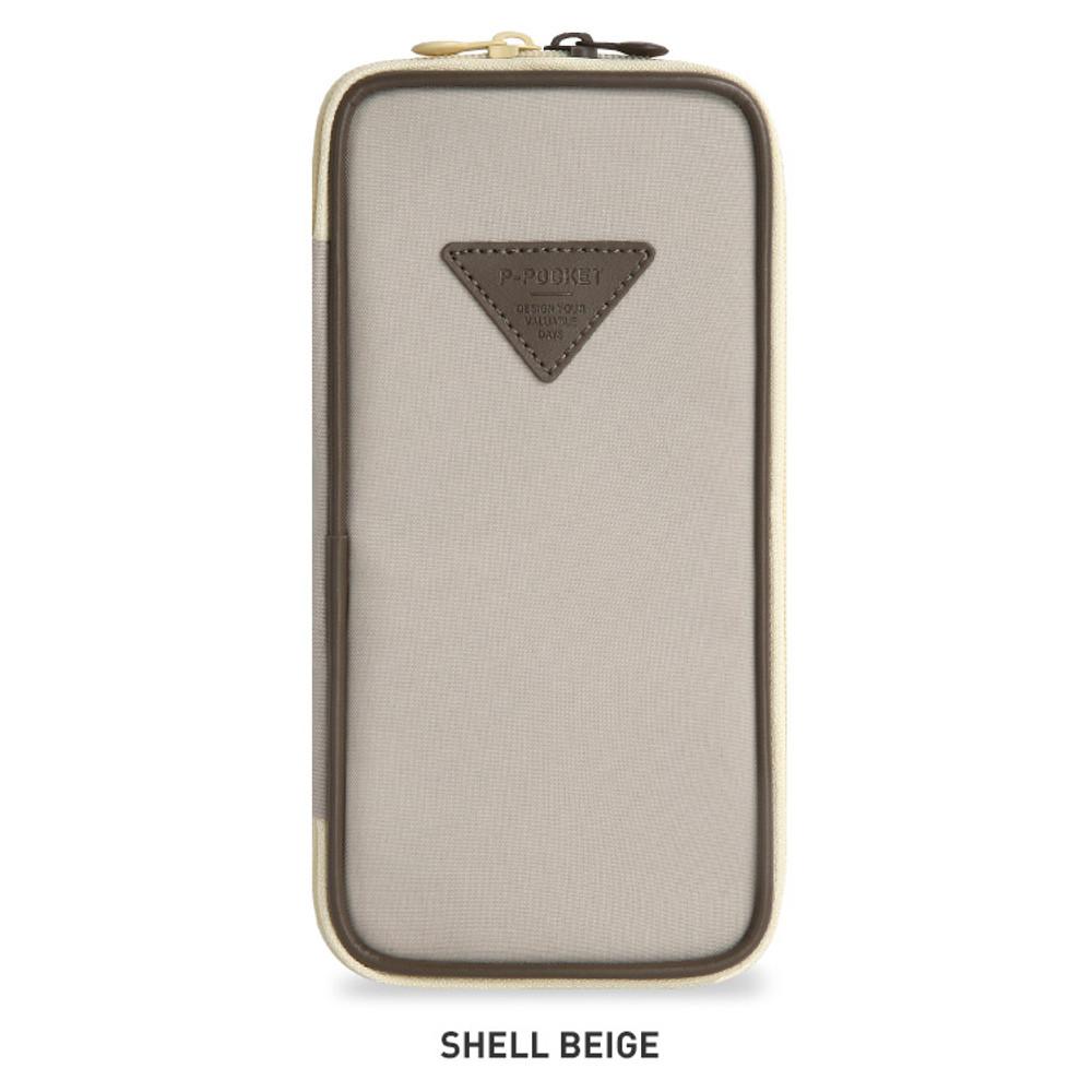 Shell Beige - Monopoly P pocket zipper pencil case pouch