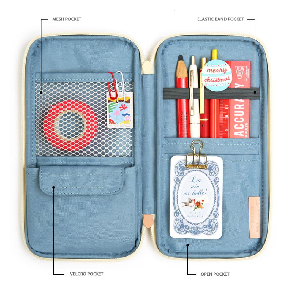 Composition - Monopoly P pocket zipper pencil case pouch