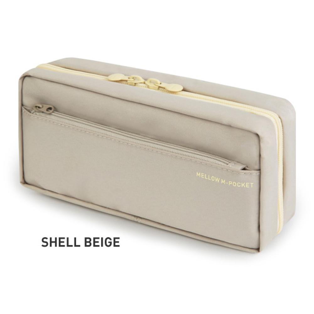 Shell Beige - Monopoly Mellow M-pocket zipper pencil case pouch