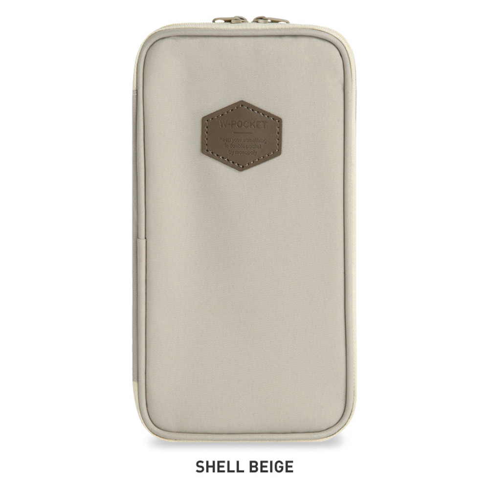 Shell Beige - Monopoly W double pockets zipper pencil case pouch