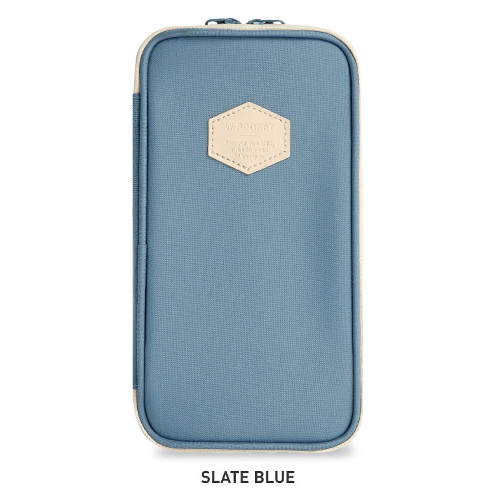Slate blue - Monopoly W double pockets zipper pencil case pouch