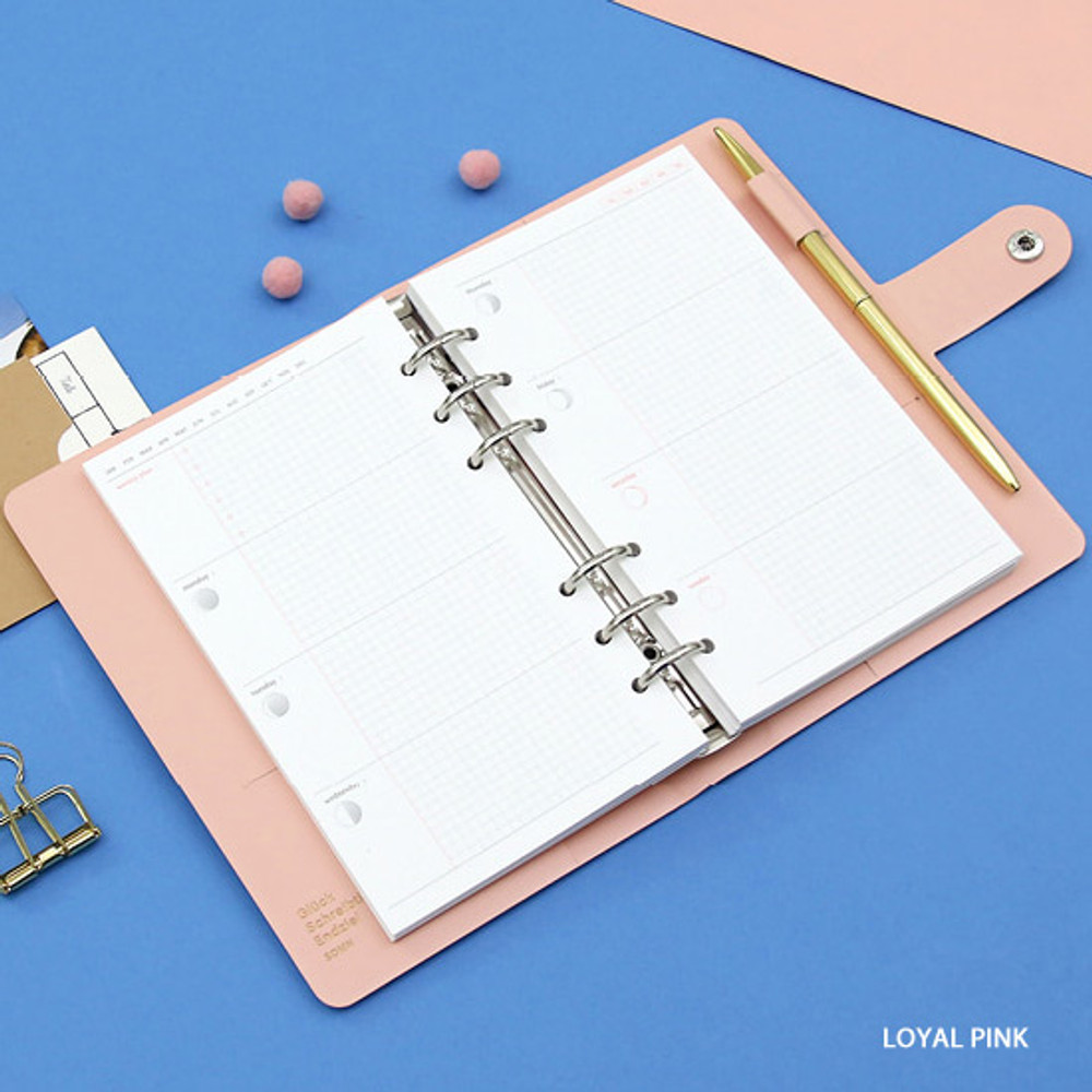 Loyal pink - Second Mansion Standard A6 6-ring dateless weekly diary