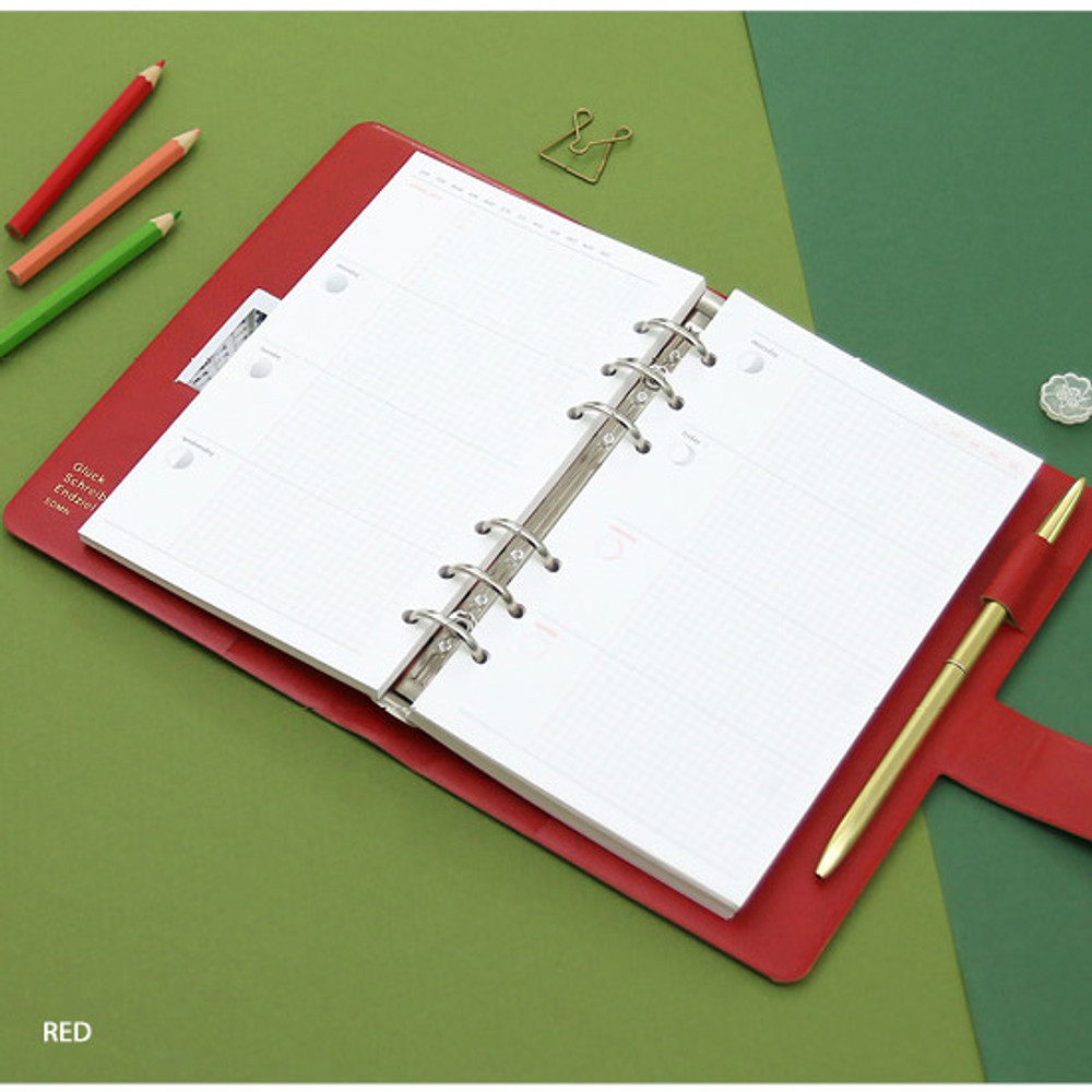 Red - Second Mansion Standard A6 6-ring dateless weekly diary